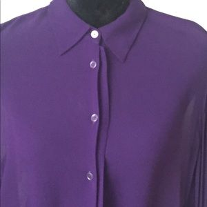ACNE Blouse Purple Button Down Sheer Size Large